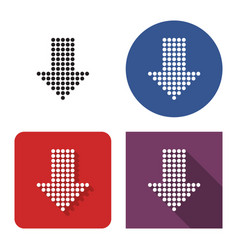 Dotted icon downward direction arrow in four vector
