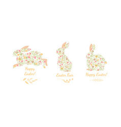 easter bunnies decorated with eggs and plants vector image