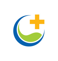 Eco medic cross logo vector