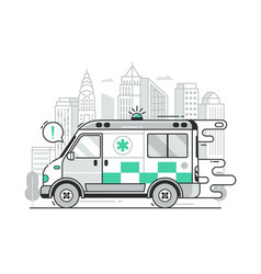 fast ambulance car city emergency service scene vector image