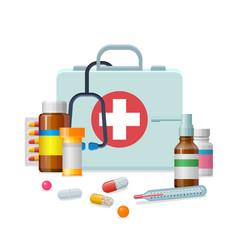 First aid kit medicine cartoon style isolated vector