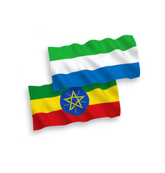 Flags ethiopia and sierra leone on a white vector