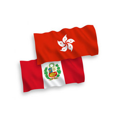Flags peru and hong kong on a white background vector