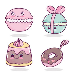 Food cute pastry macaroons jelly and donut cartoon vector