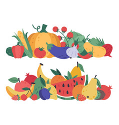 fruits and vegetables doodle food stack vector image