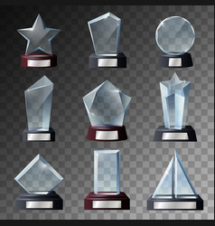 glass trophy and award templates on bases vector image