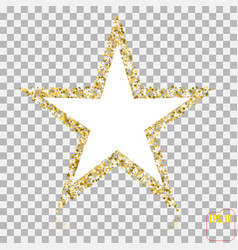 golden glitter star of many small stars banner on vector image