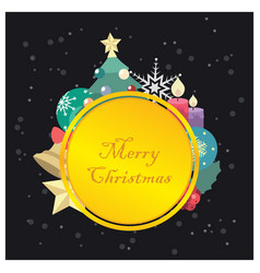 golden plate with christmas elements frame vector image