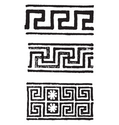 Greek motive have a greek frets vintage engraving vector