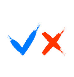 hand drawn blue checkmark and red cross vector image