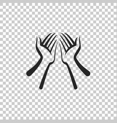 hands icon isolated on transparent background vector image