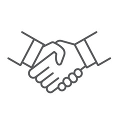 Handshake thin line icon shake and agreement vector