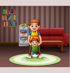 happy father and son in living room vector image