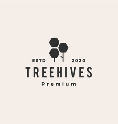 hexagon tree hive hipster vintage logo icon vector image