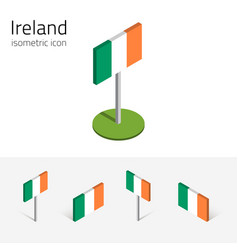 Ireland flag set of 3d isometric icons vector