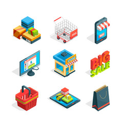 Isometric icon set of online shopping symbols of vector