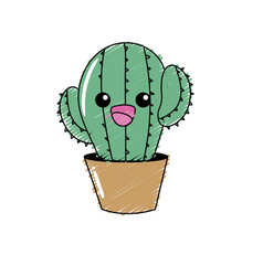 kawaii cute tender cactus plant vector image