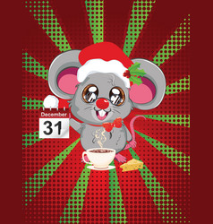 Kawaii santa mouse vector