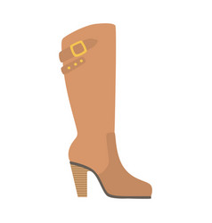knee-high female boot isolated footwear flat icon vector image
