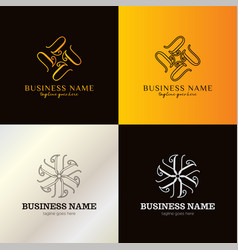 Luxury letter u logo template vector