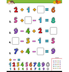 Maths calculation educational game for kids vector