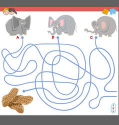 maze game with elephant characters vector image vector image