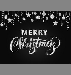 Merry christmas hand written lettering silver vector