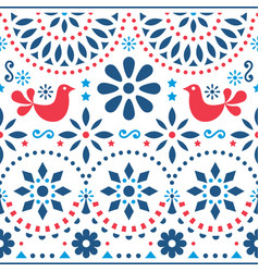 mexican folk art seamless pattern vector image