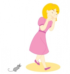 Mouse scare girl vector