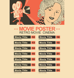 Movie poster with retro camera and girls face vector