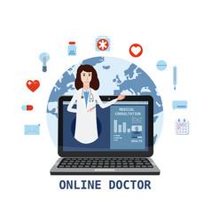 online doctor women healthcare concept icon set vector image