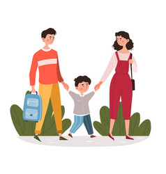 parents walking their young son to school vector image