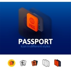 Passport icon in different style vector