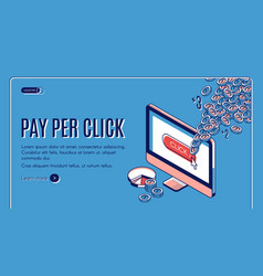 pay per click isometric landing page ppc strategy vector image