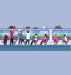 people in train public transport interior with vector image