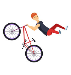 ride on a sports bicycle bmx cyclist performing vector image