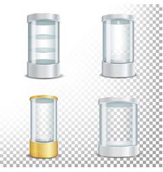 Round empty glass showcase podium set with vector