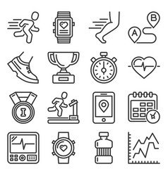 running and fitness icons set on white background vector image
