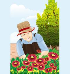 senior woman gardening vector image