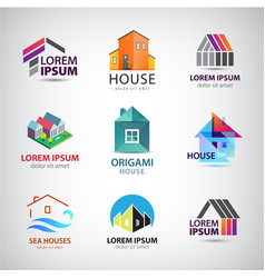 set house building logos icons real vector image
