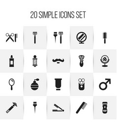 set of 20 editable barber icons includes symbols vector image