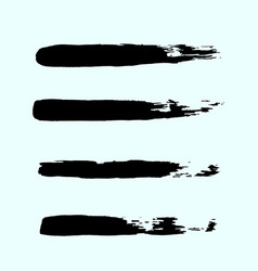 Set of black ink brush strokes brushes lines on vector