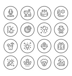 set round line icons of party vector image