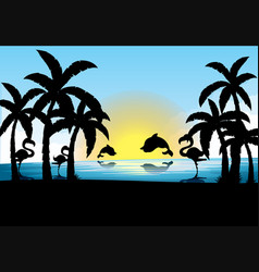 Silhouette scene with dolphin and flamingo at vector