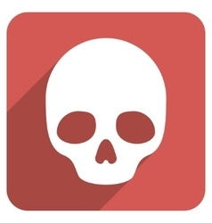 Skull Flat Rounded Square Icon with Long Shadow vector