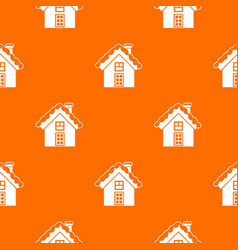 small snowy cottage pattern seamless vector image