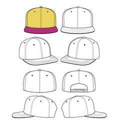 Snapback cap set fashion flat technical drawing vector