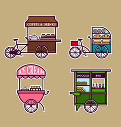 Street food cart bold outline vector