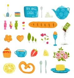 Tea Drinking Party Pastry and Crockery Set Drawing vector image
