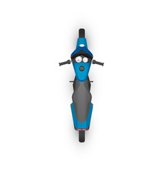 top view realistic glossy blue sport motorcycle vector image